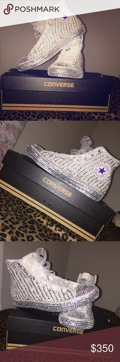 Custom  High Top Converse Customized converse high tops! Bedazzled to perfection. Rhinestone & Pearl. Converse Shoes Sneakers