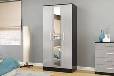 BIRLEA LYNX 3 DOOR WARDROBE WITH MIRROR, BLACK & GREY