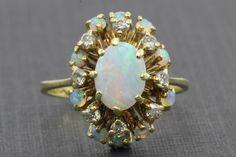 Retro 14K Gold Opal Diamond Cluster Ring c.1950's