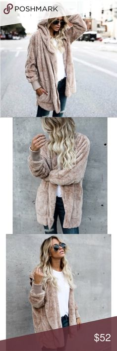 Soft Hooded Jacket - SMALL Hooded Faux Fur Oversized Sweater. Two front pockets. Color is a bit more mocha. See last pic. NO TRADES! PRICE FIRM UNLESS BUNDLED! Tops Sweatshirts & Hoodies