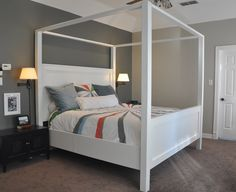 Modern King Farmhouse Bed with Canopy | Do It Yourself Home Projects from Ana White