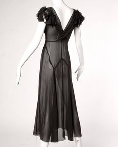 Pristine Vintage 1930s 30s Black Sheer Silk Chiffon Formal Dress image 2   jαɢlαdy