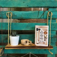 Reclaimed Wooden Shelf with Rope. Hanging / Floating / by HAYBENO