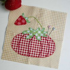 Block 119 - Pincushion Love designed by Pat Sloan for The Splendid Sampler. This gingham pincushion reminds me more of a tomato than a strawberry!