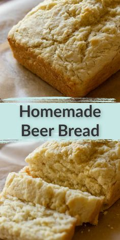 Buttery and delicious this easy homemade beer bread is the perfect savory treat! This beer bread is made with just a few simple ingredients and incredibly simple to make too. This delicious homemade bread is perfect for an easy snack or side dish! Homemade Banana Bread, Homemade Beer, Homemade Snickers, Easy Bread Recipes, Baking Recipes, Quick Bread, Muffin Recipes, Brunch Recipes, Trifle Pudding