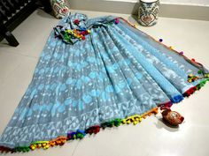 New block printed mul cotton pom pom lace sarees with bp