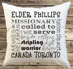Sister or Elder Missionary farewell or homecoming gift. Missionary Farewell, Sister Missionaries, Missionary Homecoming, Missionary Packages, Missionary Gifts, Throw Pillow Covers, Pillow Cases, Fabric Envelope, Subway Art