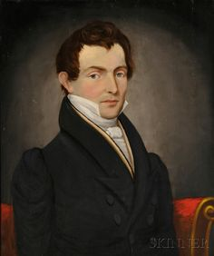 Portrait of a Gentleman with Auburn Hair and Gray Eyes, c. 1825. Unsigned. Oil on panel, 27 x 22 1/2 in., in a period molded giltwood frame. Condition: Minor retouch, otherwise good.