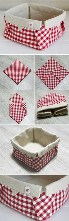 Cómo hacer una cesta de origami en tela   -   How-To: Fabric Origami Box. DIY tutorial fabric basket. http://www.handmadiya.com/2015/10/fabric-origami-box-tutorial.html                                                                                                                                                                                 Más
