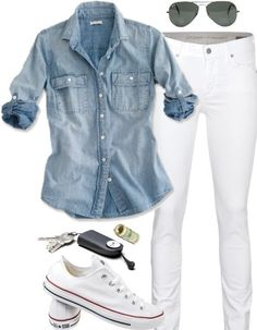 Minimal + Classic: denim shirt, white jeans, converse More - all shirts, mens over shirt, shirts mens *ad Outfits With Converse, Casual Outfits, Summer Outfits, Cute Outfits, White Chucks Outfit, How To Wear White Converse, Converse Classic, Converse Sneakers, Casual Jeans