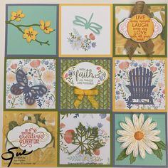 Summer sampler featuring fun new Stampin' Up! Bee Embroidery, Collage Frames, Collage Ideas, Card Making Techniques, Frame Crafts, Scrapbook Supplies, Scrapbooking Layouts, Stampin Up Cards, Atc Cards