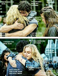 """I love this Bellarke thing! Best are """"the children were not listening"""" and Octavia like """"I represent the fandom, long may they reign"""" Best Tv Shows, Best Shows Ever, Movies And Tv Shows, The 100 Cast, The 100 Show, Bellarke Tumblr, Bellamy The 100, Reading Meme, 100 Memes"""