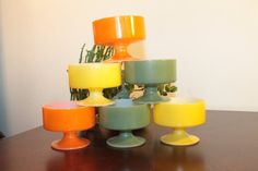 SIX Set of Six Federal Glass Footed Sherbets by OhThatsAFind