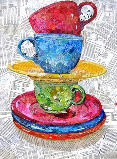 Gelli painted papers throughout the cups/saucers. Wanda Edwards - Torn Paper Paintings: