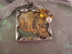 ITALY POSTAGE  Soldered Art Glass Pendant by victoriacharlotte, $10.00