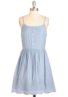 The Cloud Goes Wild Dress - Blue, Solid, Buttons, Embroidery, Casual, Sundress, A-line, Spaghetti Straps, Spring, Woven, Mid-length