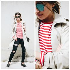 Lovely Pepa. Red and white striped tee+black distressed jeans+black Gucci loafers+natural coloured trenchcoat+black Chanel chain shoulder bag+sunglasses. Spring Casual Outfit 2017