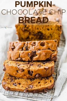 This easy Pumpkin Chocolate Chip Bread is soft, moist, and perfectly tender! Each bite is accompanied by melty chocolate chips and the perfect fall flavors that keep you coming back for more! Pumpkin Loaf, Pumpkin Chocolate Chip Bread, Pumpkin Dessert, Pumpkin Carving, Pumpkin Banana Bread, Easy Pumpkin Bread, Recipes With Chocolate Chips, Healthy Pumpkin Muffins, Pumpkin Pound Cake