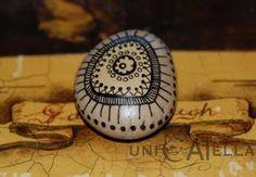 mini painted stone by Unicatella Pebble Painting, Dot Painting, Stone Painting, Painted Rocks, Hand Painted, Mandala Rocks, Sticks And Stones, Stone Crafts, Stone Art