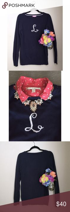 Lilly Pulitzer Monogram Initial L Neck Sweater Classic prep with a personal touch, pair this navy blue sweater with contrasting patterns or chunky jewelry to show off your personal style or keep it simple! Great condition with just a little wash wear and very slight fading as pictured! Lilly Pulitzer Sweaters Crew & Scoop Necks