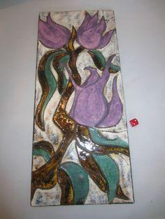 Ruscha Keramik Wandbild 768 - lila Blumen  - wall plaque - 50 x 22 cm