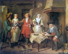 The Marriage Contract, oil on canvas, by Nicolas Lancret, French, 1690-1743.