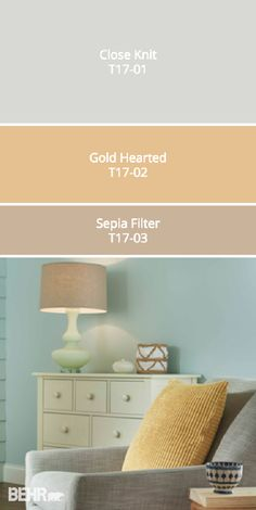 Check out BEHR's 2017 Color Currents to find the perfect color palette for your home. This beachy design scheme pairs the warm tones of Gold Hearted and Sepia Filter with the cooler gray of Close Knit for a room that is comfortable and inviting. You can mix and match these modern paint colors to your heart's content to find the combination that reflects your unique sense of style.