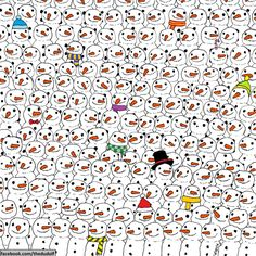 This drawing by Dudolf went viral after the artist posted it on his Facebook, asking viewers to find the hidden panda. It's been cleverly hidden among a sea of snowmen. Take a look