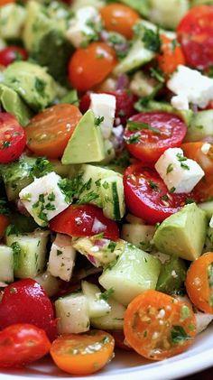 Tomato, cucumber, avocado salad - Green Valley Kitchen