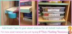 Classroom Decor: Closet Makeover - Add washi tape to classroom cupboard for an instant makeover!  More tips too!