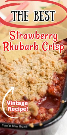 Strawberry Rhubarb Crisp is an easy fresh seasonal treat that everyone should enjoy over the summer! Simple ingredients, packed with flavor this has become one of our all time favorite desserts! Best Dessert Recipes, Fruit Recipes, Easy Desserts, Delicious Desserts, Cooking Recipes, Yummy Food, Rhubarb Desserts Easy, Awesome Desserts, Summer Desserts