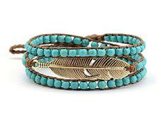 Hippie Feather Wrap Bracelet Turquoise Beads *** Review more details @ http://www.amazon.com/gp/product/B00S1TB0VA/?tag=splendidjewelry07-20&pvw=240716055534