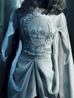 Skull embroidery on a gown