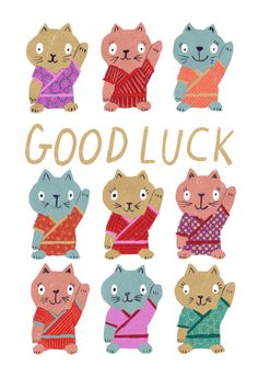 Lucky cats - Good Luck Card #greetingcards #printable #diy #goodluck Good Luck Cards, Free Printable Cards, Beautiful Photos Of Nature, Thoughts And Feelings, Diy Cards, Card Templates, Create Yourself, Diy And Crafts, Greeting Cards