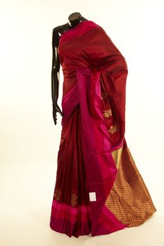 Banarsi- silk carmine red saree with blouse