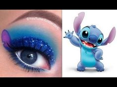Stitch Makeup Tutorial - Disneys Lilo und Stitch - New Ideas Makeup Eye Looks, Eye Makeup Art, Crazy Makeup, Cute Makeup, Eyeshadow Makeup, Makeup Tips, Makeup Videos, Makeup Tutorials, Disney Eye Makeup