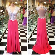 161USD.Red Chiffon Prom Dresses ,High Slit Prom Dress, Sequins Evening Dress,Sexy Backless Party Dresses, Long Chiffon Prom Dresses,Chiffon Formal Gowns,V-neck Prom Dress