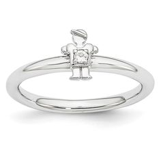 Sterling Silver Affordable Expressions Rhodium WT Boy Ring