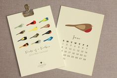 Cheery, modern bird illustrations make this calendar a welcome addition to any wall.