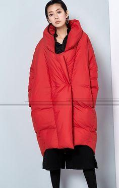 Damen Winter Anzug Kragen verdickte Cocoon Coat von hodoostory