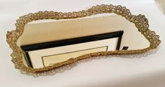 Large Vanity Mirror Tray Gold Vanity Mirror by RustyRelics1967
