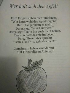 Finger game about apple - Wald Kindergarten Activities, Activities For Kids, Finger Games, The Rainbow Fish, Kindergarten Portfolio, Kids Poems, Learn German, Special Education, Kids And Parenting