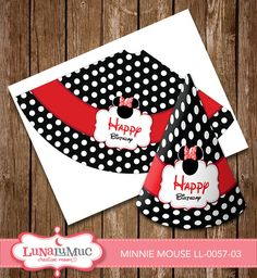 Minnie Mouse Party Hat Minnie Mouse Birthday Party Printables LL-0057-03