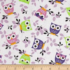 Tossed+Owls+White/Purple/Lime from This+cotton+print+is+perfect+for+quilting,+apparel+and+home+decor+accents.++Colors+include+black,+white,+cheddar,+lime+and+shades+of+purple. Owl Quilts, Bird Quilt, Baby Quilts, Owl Fabric, Purple Fabric, Modern Quilt Patterns, Owl Patterns, Owl Bags, Paper Owls