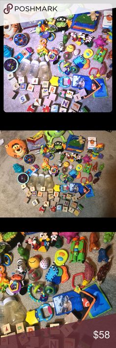 sensory developmental rattles learning toy 40 Lot Melissa & Doug binoculars $16 preowned Fisher price ABC complete set blocks $28 nwot First years star teether $14 nwot 9 oz bottles $36 preowned Monkey cow rattle $27 nwot Elmo phone preowned $15 rolling sensory ball toys 6 $36 nwot   butterfly rattle Lamaze brand NWT $18 little people Mickey 13 sassy car keys play rattle toy $16 nwot rattle egg $6 nwot 2 plush book 4 plush's  Fisher price jungle safari spin rattle $22 preowned plush sea life…