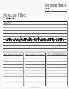 A Family For His Glory- free printable- sermon notes