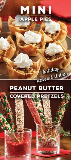 6 bite-sized ideas so your holiday party menu doesn't bite | Mini Apple Pies | Peanut Butter Covered Pretzels | Dessert Station