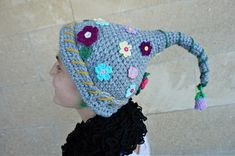 Crochet Magic Fairy Elf Hat - Flowers Garden