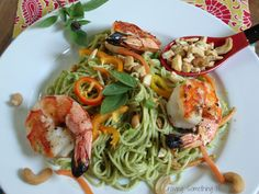 Perfect summer food!  Grilled Shrimp & Pasta made with Thai Basil Pesto with Garlic Scapes|Craving Something Healthy