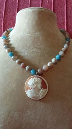 Necklace with authentic cameo  agata and sterling by crizartshop